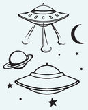 Space flying saucer Stock Photos
