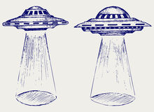 Space flying saucer stock illustration