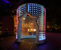 Space Folding at Vivid Sydney. SYDNEY, AUSTRALIA - MAY 25, 2015; Space Folding is a towering cylinder that morphs into multi-coloured patterns of light and sound Royalty Free Stock Images