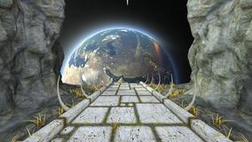Space fortress. 3D CG rendering of the space fortress stock footage