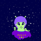 Space funny alien guy,antenna, purple hair, green skin, and two. Little cute green alien, isolated.Vector colored page for adults and children.Book,textile royalty free illustration