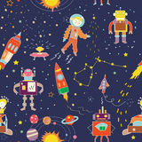 Space funny seamless pattern for kids - illustration Stock Photography