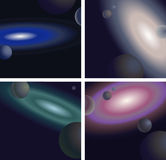 Space and Galaxies. Abstract illustration of space with galaxies and planets Stock Images