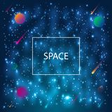 Space Galaxy Background with planets, nebula, stardust and bright shining stars. royalty free illustration