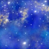 Space, Galaxy background, Watercolor space texture, nebula background, starry night background stock illustration
