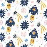 Space Galaxy childish seamless pattern with space ships, stars, cosmic elements. Creative scandinavian nursery background for kids apparel, textile, fabric stock illustration