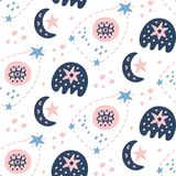 Space Galaxy childish seamless pattern with stars, cosmic elements. Creative scandinavian nursery background for kids apparel, textile, fabric, wrapping paper Stock Images