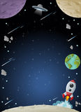 Space galaxy with moon, earth, planets and stars. Stock Photography