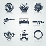 Space game icons black Stock Photo