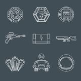Space game icons. Space computer mobile phone game play elements outline icons set isolated vector illustration Royalty Free Stock Image