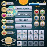 Space game interface design. Space arcade adventure game menu interface design template vector illustration Royalty Free Stock Images