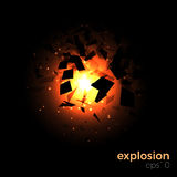 Space geometric explosion. Space explosion vector concept. Abstract geometric background. Dynamic shapes and particles, light effects Stock Photos