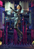 Space girl. A woman astronaut float without gravity in 3d Royalty Free Stock Photos