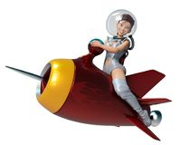 Space girl astronaut riding tha rocket Royalty Free Stock Photo