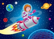 Space Girl Riding On Top of A Rocket Ship Stock Photo