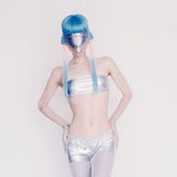 Space Girl Unreal party. Fashion club dancing style Royalty Free Stock Photography