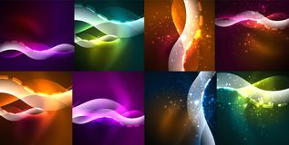 Space glowing waves, modern abstractions, collection of backgrounds Royalty Free Stock Image