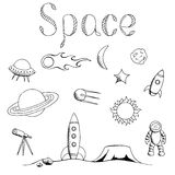Space graphic set art black white  illustration Royalty Free Stock Photography