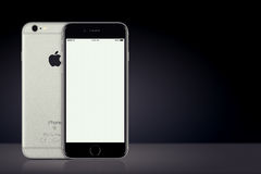 Space Gray Apple iPhone 7 mockup front and back side on dark background with copy space Royalty Free Stock Photos