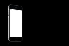 Space Gray Apple iPhone 7 mockup on solid black background with copy space Royalty Free Stock Photos