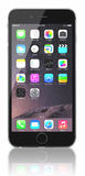 Space Gray iPhone 6. Apple Space Gray iPhone 6 Plus showing the home screen with iOS 8.The new iPhone with higher-resolution 4.7 and 5.5-inch screens, improved Royalty Free Stock Photos