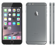 Space Gray iPhone 6. Apple Space Gray iPhone 6 Plus showing the home screen with iOS 8.The new iPhone with higher-resolution 4.7 and 5.5-inch screens, improved Stock Image