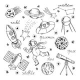 Space Hand Drawn Elements Set Royalty Free Stock Photo