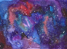 Space hand painted watercolor background. Space abstract hand painted watercolor background. Texture of night sky. Hand draw painted galaxy with stars Stock Photography