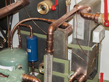 Space heating system. Sensor and temperature control in space heating pipes Stock Photos