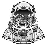 Space helmet of the astronaut is filled in flowers roses. Monochrome drawing. Vector illustration isolated on a white background. Print, poster, t-shirt, card Royalty Free Stock Image
