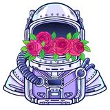 Space helmet of the astronaut is filled in flowers roses. Color drawing. Vector illustration isolated on a white background. Print, poster, t-shirt, card Royalty Free Stock Image