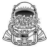 Space helmet of the astronaut is filled in flowers roses. Linear monochrome drawing. Vector illustration isolated on a white background. Print, poster, t Royalty Free Stock Images