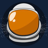 Space helmet. Orange space helmet on а blue background Stock Photography
