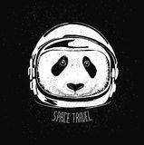 Space helmet panda. Abstract astronaut helmet to space travel vector emblem Royalty Free Stock Photography