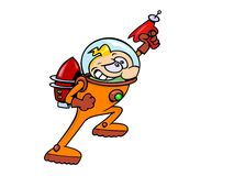 Space Hero. A real space hero in an astronaut suit with rocket  jet pack and ray gun, looking for new adventures Stock Images