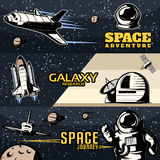 Space Horizontal Banners Set Royalty Free Stock Photo