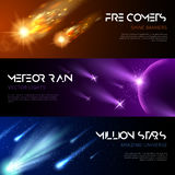Space Horizontal Banners. With shiny light effects falling meteors comets stars vector illustration Royalty Free Stock Image