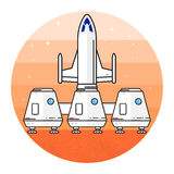 Space house for living on Mars. Space house for living on the red planet. Human mission to Mars. Space future home for humans on the Mars. Thin line icon Stock Image