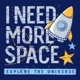 Space kids t-shirt design 003 royalty free illustration