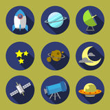 Space icon illustration 01 flat design. Space icon material flat style illustration design Stock Photos