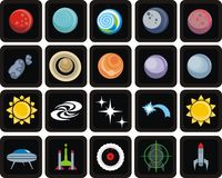 Space icon set Stock Photo