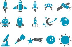 Space icon set Stock Photography