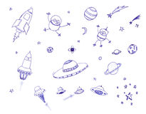 Space icon set Stock Photos