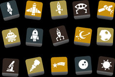 Space icon set. Vector icons pack - Yellow-Brown-Blue Series, space collection stock illustration