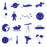 Space icon set eps10. Blue space icon set eps10 Royalty Free Stock Photography