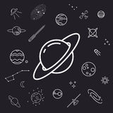Space icon set, planets, stars and moons Royalty Free Stock Photos