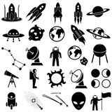 Space icon set stock illustration