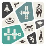 Space icon set Royalty Free Stock Photography