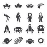 Space icon set Stock Image