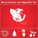Space Icon Vector. And bonus symbol for New Year - Santa Claus, Christmas Tree, Firework, Balls on deer antlers Stock Image